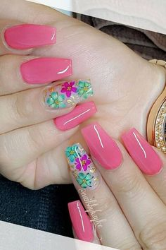 There are many styles of nails. Recently, dried flower nail art designs on ins are very popular. Dry flower nails are m Glow Nails, Diy Nails, Swag Nails, Cute Nails, Grunge Nails, Best Acrylic Nails, Acrylic Nail Designs, Nail Art Designs, Sunflower Nails