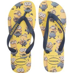 HAVAIANAS Minions Yellow // Flip flops with print (£22) ❤ liked on Polyvore featuring shoes, sandals, flip flops, rubber thong sandals, rubber shoes, beach flip flops, summer shoes and havaianas flip flops