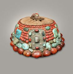 India   Cap from Kashmir and Jammu, Ladakh   Turquoise, agate, coral and brass   20th century~