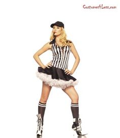 Cheekyfun Sexy Fancy Dress Referee by Be Wicked Includes Lace Up Halter Dress Cap Socks Does not include Petticoat Whistle Size M L - UK Role Play Outfits, Referee Costume, Men's Undies, Adult Fancy Dress, Cap Dress, Adult Costumes, Women Lingerie, Lace Up, Sexy