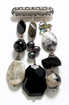 Onyx Three-Strand Pin, Pins, Jewelry, New Gifts For Fall - The Museum Shop of The Art Institute of Chicago