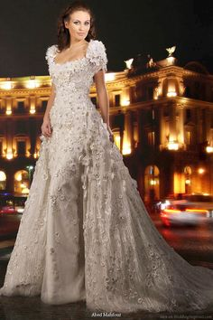 Wedding dress that looks heavily embellished with crystals, sequins, beading and embroidery from Abed Mahfouz -- Abed Mahfouz Wedding Gown Collections Beautiful Wedding Gowns, Beautiful Dresses, Nice Dresses, Wedding Dresses Photos, White Wedding Dresses, Sequin Wedding, Crystal Wedding, Looks Vintage, Dress Collection
