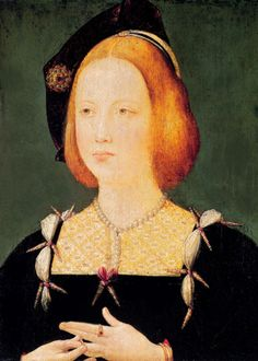 Princess Mary Tudor by Unknown~This may be an early appearance of two standbys of 1500s fashion - a square neckline surrounding a partlet and a smaller, higher neckline and aglets, the spike-like objects jutting out at the intersections of cloth puffs ornaments. (Musée des Arts Décoratifs - Paris France) | Grand Ladies | gogm