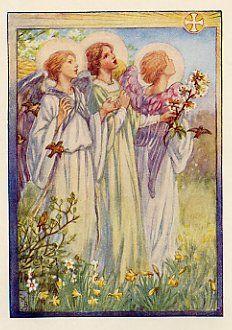 Three Angels by C.M. Barker, antique print