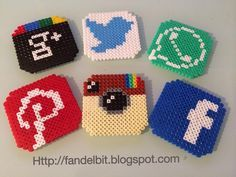 Social network coasters hama perler beads by Isaac Borras. Hama Beads Coasters, Diy Perler Beads, Perler Bead Art, Pearler Beads, Hama Beads Minecraft, Perler Bead Designs, Hama Beads Design, Pixel Art, Pixel Beads