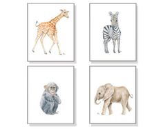 Zoo Animal Art Zoo Nursery Prints Whimsical by JamesRiverStudios