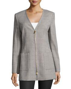 Escada Long-Sleeve V-Neck Jacket, Shadow, Women's, Size: 42