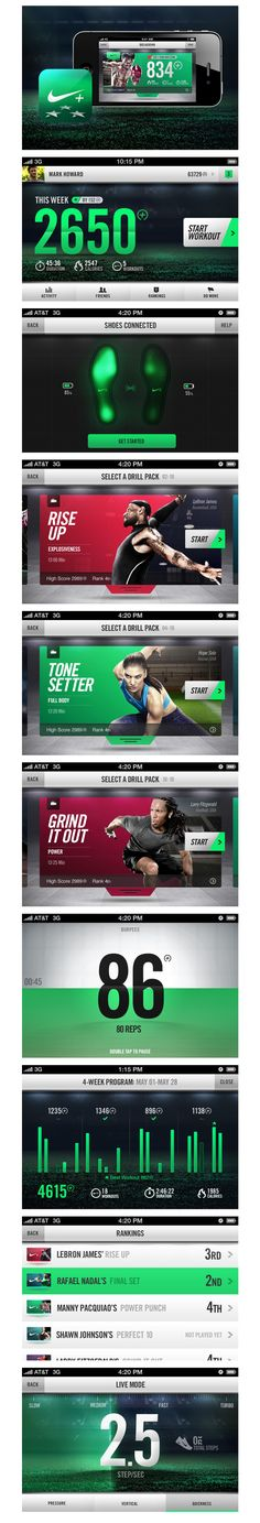 "Nike+ Training on the Behance Network / ""Smart sensors imbedded in the sole of Nike shoes communicate via Bluetooth to an iPhone app to track your sport activity."""
