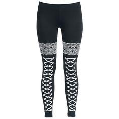 Corded Look Leggings, Women black • EMP