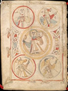 Symbols of four evangelists, and Christ.