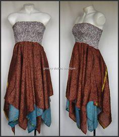 Vintage Gypsy Silk Hippie Handkerchief Hem Boho Dress Free Sz 8 - 16  Au