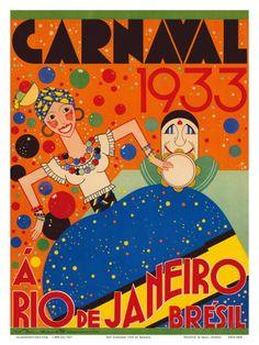 Carnaval (Carnival) 1933 - A Rio de Janeiro, Bresil (Brazil) Posters by Renato at AllPosters.com