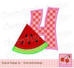 Watermelon Number 4,Watermelon digital applique -4x4 5x7 6x10-Machine Embroidery Applique Design by CherryStitchDesign on Etsy