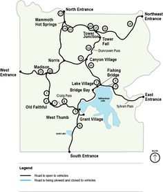 Map of WaterFalls in Yellowstone National Park  Glacier