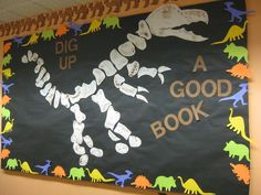What a neat dinosaur bulletin board! Use this for your dinosaur classroom theme,. What a neat dinosaur bulletin board! Dinosaur Bulletin Boards, Dinosaur Classroom, Preschool Bulletin Boards, Dinosaur Party, Library Themes, Library Activities, Library Ideas, Library Decorations, Library Inspiration