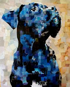 pet portraits made out of magazine mosaic