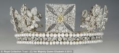 The Diamond Diadem, which Her Majesty Queen Elizabeth II wore for the journey from Buckingham Palace to Westminster Abbey, for her coronation