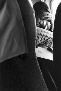Malcom X on a plane, 1963, Gordon Parks