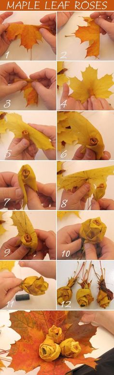 DIY Maple Leaf Roses flowers- nice possible Thanksgiving gift to hand out?