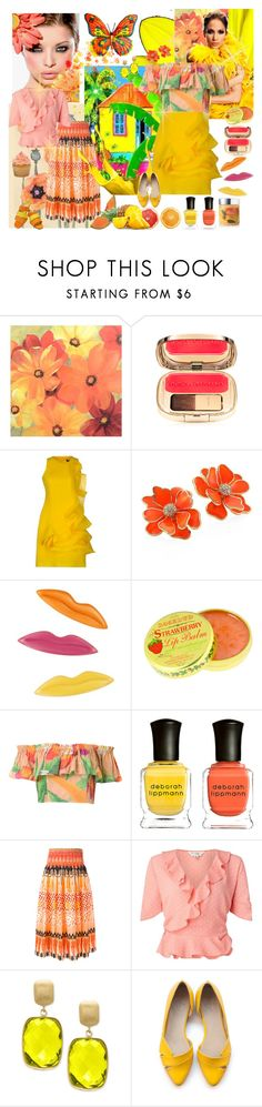"""CORAL LOVES YELLOW"" by kalenalexis ❤ liked on Polyvore featuring Jennifer Lopez, Koo, WALL, Amaya Arzuaga, Kenneth Jay Lane, Sonia Rykiel, Rosebud Perfume Co., Isolda, Deborah Lippmann and Temperley London"