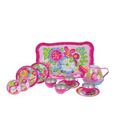 Garden Party Tin Tea Set on zulily