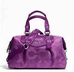 Coach Ashley Dotted Op Art Satchel Handbag Purple