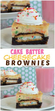 Brownies with Oreo cookies inside and cake batter cheesecake on top is the perfect dessert for celebrating anything!