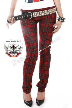 Punk Straight Leg Low Rise Red Tartan Plaid Checker por runnickyrun