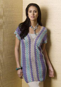 Mandalay Vertical Stripe Tunic By Diane Moyer - Free Crochet Pattern - (naturallycaron)