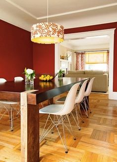 Red Accent Wall for Dining Room