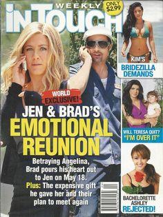 In Touch magazine  Jennifer Aniston Brad Pitt Kim Kardashian The Bachelorette