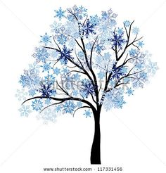 Beautiful winter tree with snowflakes leaves. Vector illustration. - stock vector
