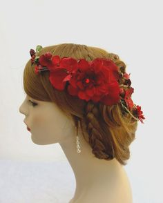 Red Flower Crown Red Bridal Flower Crown by RuthNoreDesigns, $45.00