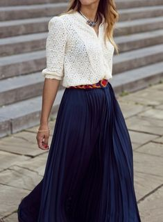 Lace blouse + flowy skirt