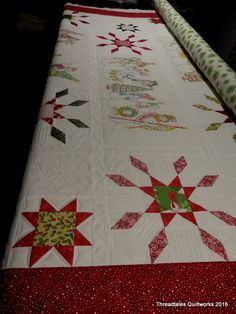Kathy's Crabapple Hill Snow Parade quilt – hoping to get it finished tomorrow. We'll see how that goes :-) Warm and sunny in West Michigan right now, but they say a storm is comin…