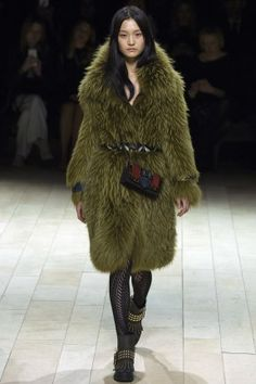 LFW Fall 2016 RTW   Burberry Vintage Brit Glam   Sage green fur coat   The Luxe Lookbook