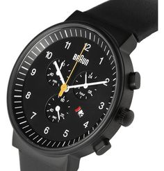 Braun Chronograph Watch Black by Dietrich Lubs and Dieter Rams Sport Watches, Cool Watches, Watches For Men, Stylish Watches, Fancy Watches, Luxury Watches, Rolex Watches, Fitness Watches For Women, Mens Designer Watches