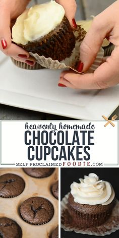 Heavenly Homemade Chocolate Cupcakes, made with cocoa and strong hot coffee, are the most decadent and moist chocolate cupcake recipe you'll ever enjoy! This recipe turns out perfect every time. Healthy Cupcake Recipes, Homemade Cupcake Recipes, Cupcake Recipes From Scratch, Fun Baking Recipes, Homemade Recipe, Healthy Cupcakes, Homemade Breads, Cookie Recipes, Chocolate Cupcakes From Scratch
