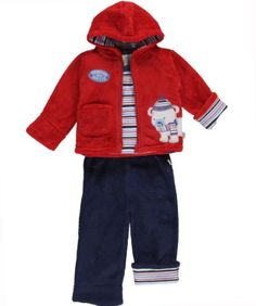 Duck Duck Goose Explore the Arctic 3-Piece Outfit - red, 3 - 6 months Jacket: plush, full zip, striped hood lining, patch pocket, Explore the Artic (sic) appliqués. (90% Polyester, 10% Cotton). L/S Bodysuit: lap collar, easy-change snaps on bottom, allover stripes, Explore the Artic (sic) appliqué. (100% Cotton). Pants: plush, elastic waistband, striped cuffs. (90% Polyester, 10% Cotton). ... #Duck_Duck_Goose #Apparel