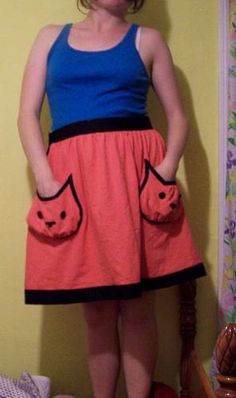 Kitty Pocket Skirt! With a tutorial! :)