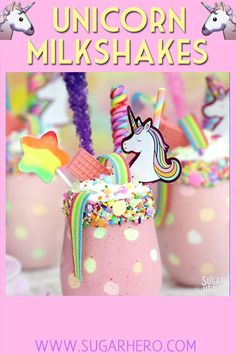 Milkshakes Video Unicorn Milkshakes - magical milkshakes in polka-dot glasses! Köstliche Desserts, Delicious Desserts, Dessert Recipes, Yummy Food, Easter Recipes, Unicorn Birthday Parties, Unicorn Party, Unicorn Cupcakes, Unicorn Milkshake