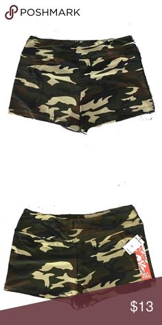 """NWT New Camo Booty Shorts by Hot Kiss Soft & Cozy Condition:  New Style: Booty Shorts, Biker shorts, Workout shorts Color: Camo Green, Brown, Black Material: Cotton, Polyester, Elastic Measurements: Waist/Hips: 32 Length: 5"""" Thank you for shopping my closet! Hot Kiss Shorts"""