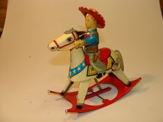 1950's cowboy rocking horse wind up toy!