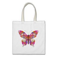 Pink Orange Floral Butterfly Girly Cute Collage Bags by _Angelique_