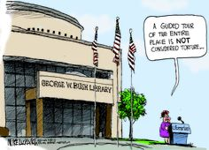 Dubya Library Torture Tour by Luckovich