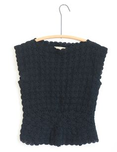 50s Handmade Black Crochet Top $36.00