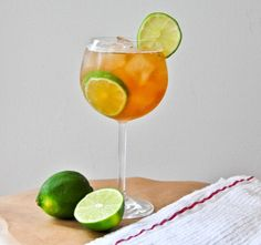Ginger and Lime Rickey {limes, ginger ale, bitters + gin}