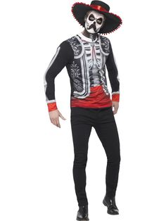 You can buy a Men's Day of the Dead El Senor Costume from the Halloween Spot. Dress like the El senor costume with this black Skeleton Print Top & Hat.