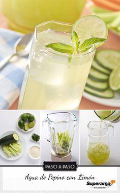 Licua 1 pepino grande pelado y sin semillas, el jugo de 5 limones, ¾ de taza de azúcar, 2 cucharadas de menta picada con ½ litro de agua. Cuela, vierte en una jarra y agrega 1 taza de hielo y 1 litro más de agua.