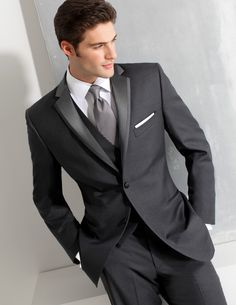 Ike Behar Dark Gray Slim Fit Tuxedo - Style #390 Black Tie Formalwear